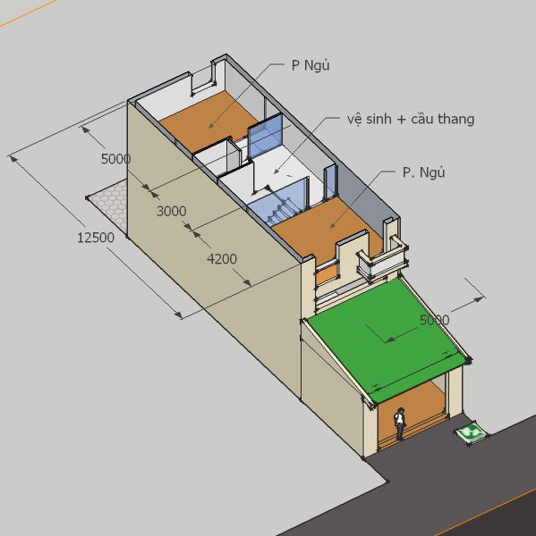 Mặt bằng tầng 2 (có thể xây vào giai đoạn 2 nếu chưa đủ tiền)