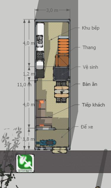 Nhà 3x11m: Mặt bằng tầng 1: chỗ để xe, tiếp khách + bàn ăn và khu bếp rộng rãi