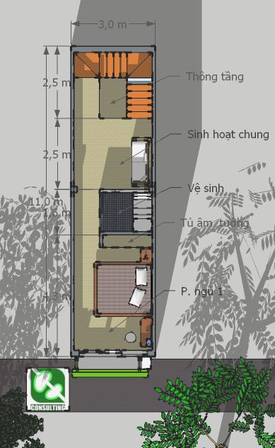 Nhà 3x11m: Mặt bằng tầng 2: Cầu thang với lỗ thông tầng lớn, không gian sinh hoạt chung và phòng ngủ có vệ sinh lớn, khép kín