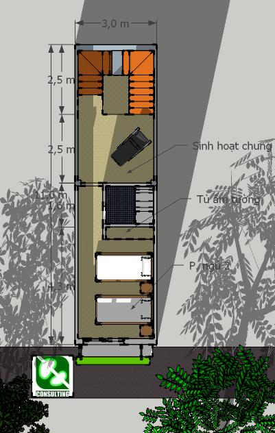 Nhà 3x11m: Mặt bằng tầng 3: Cầu thang với lỗ thông tầng lớn, không gian sinh hoạt chung và phòng ngủ con cái có vệ sinh lớn, khép kín (có thể phân đoạn để xây dựng sau)