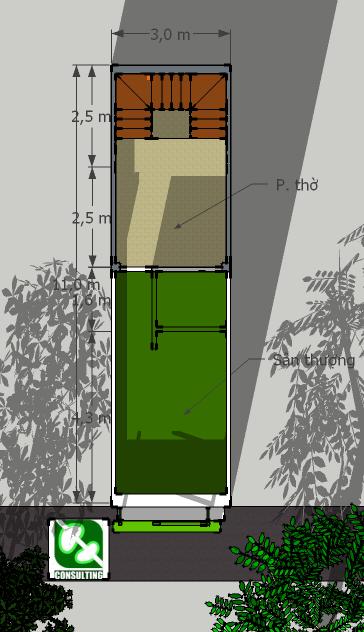 Nhà 3x11m: Mặt bằng tầng 4: phòng thờ và sân thượng (bố trí giặt, phơi và thu nước mưa vào bể ngầm dưới tầng 1, mái lấy sáng trên cao xuống qua lỗ thông tầng cầu thang)