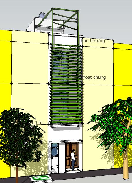 Nhà 3x11m: Phối cảnh mặt trước với cách trang trí đơn giản, kết hợp lam che nắng tạo chi tiết cho mặt nhà, tỷ lệ tường đặc tương đối lớn giúp ngăn nắng vào phòng ngủ