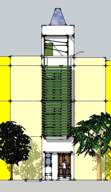 Nhà 3x11m: Mặt đứng sau khi xây dựng xong (với lam che nắng mặt đứng để giảm tác động của nắng, tiết kiệm năng lượng)