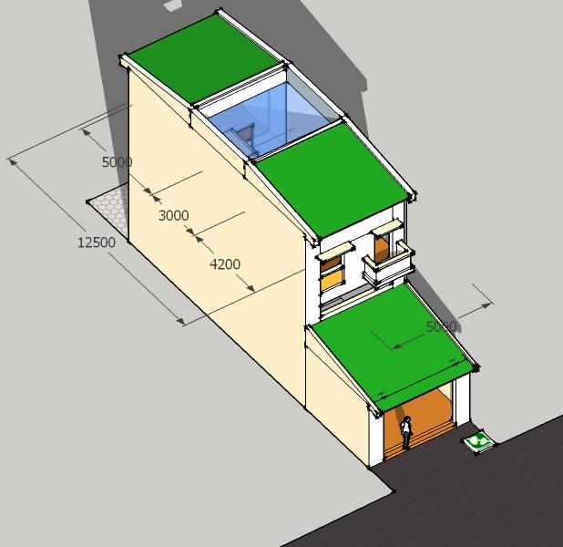 Tổng thể ngôi nhà sau hoàn thành:  Phía trước: 2 tầng; phía sau: 3 tầng (bếp và tầng lửng chia nhau chiều cao tầng 1 khối phía trước + tụt cốt bếp)