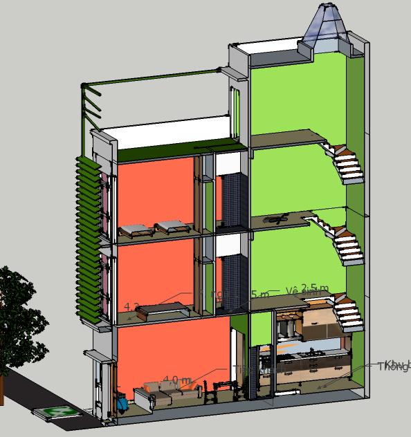 Nhà 3x11m: Mặt cắt dọc nhà khi hoàn thành, khối tích của cầu thang và không gian sinh hoạt chung chiếm tỷ trọng lớn giúp thông thoáng cho ngôi nhà, kể cả trong trường hợp bị kín tường hậu